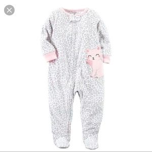 Carter's Cheetah & Pink Cat Fleece Pajamas